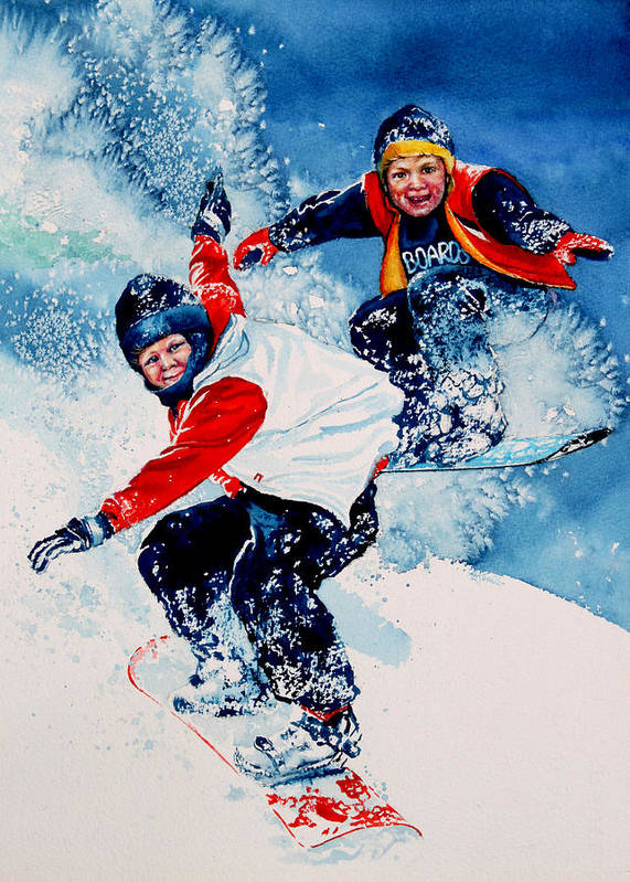 Sports Poster featuring the painting Snowboard Psyched by Hanne Lore Koehler