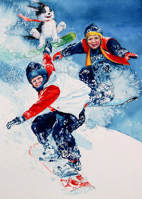 Kids Room Poster featuring the painting Snowboard Super Heroes by Hanne Lore Koehler