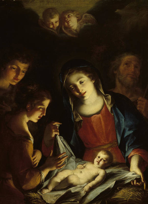 Virgin Mary Poster featuring the painting The Madonna Adoring The Infant Christ by Pietro Antonio Rotari