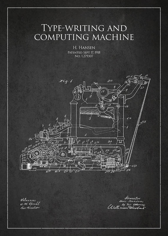 Typewriter Poster featuring the drawing Vintage Typewriter Patent From 1918 by Aged Pixel