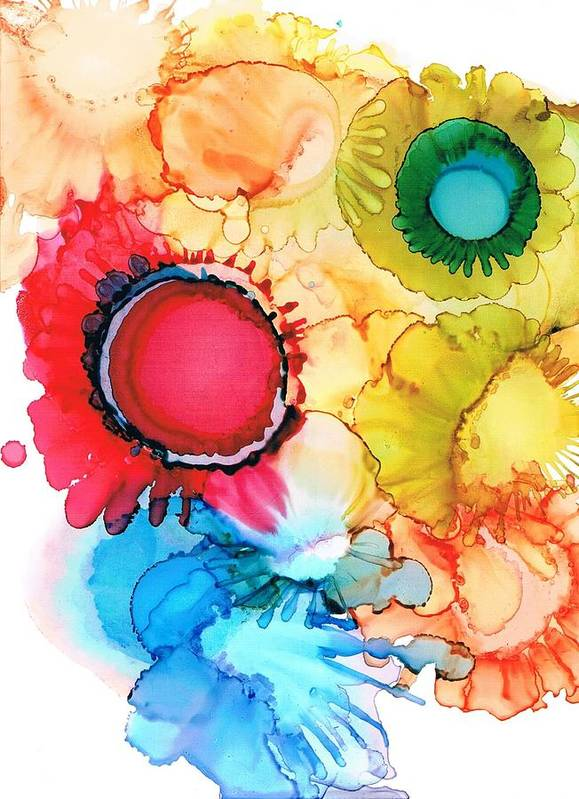 Alcohol Ink Poster featuring the painting Ink Blossoms by Christine Crawford
