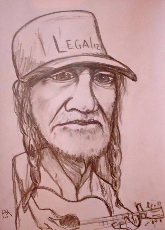 Willie Nelson Poster featuring the drawing Legalize by Pete Maier