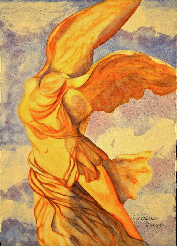 Statue Poster featuring the painting Nike Goddess Of Victory by Teresa Beyer