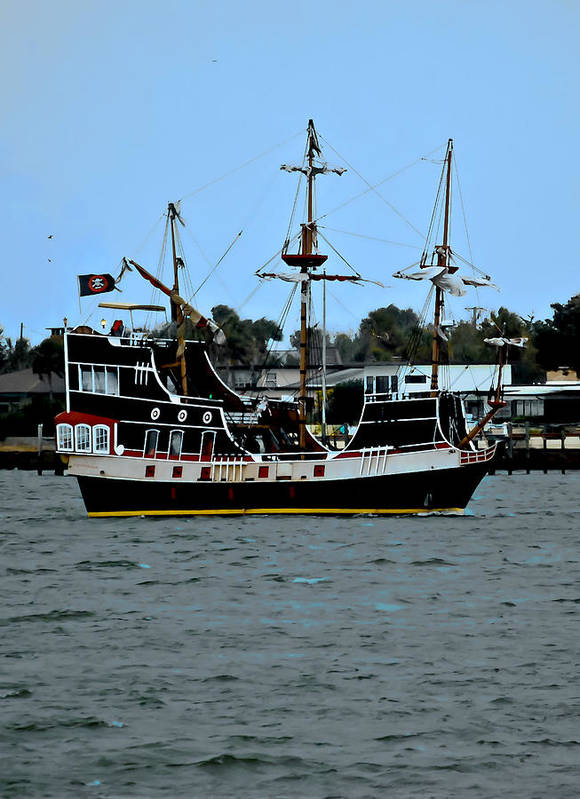 Ship Poster featuring the photograph Pirate Ship Of The Matanzas by DigiArt Diaries by Vicky B Fuller
