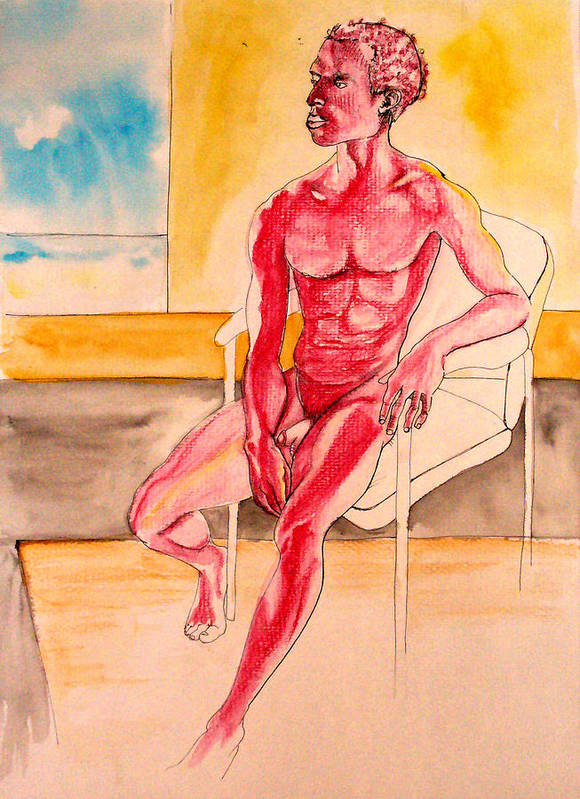 Male Poster featuring the drawing Skinless by Nina Mirhabibi