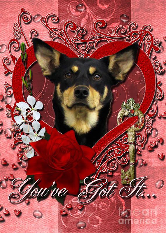 Australian Kelpie. Australian Poster featuring the digital art Valentines - Key To My Heart Australian Kelpie by Renae Laughner