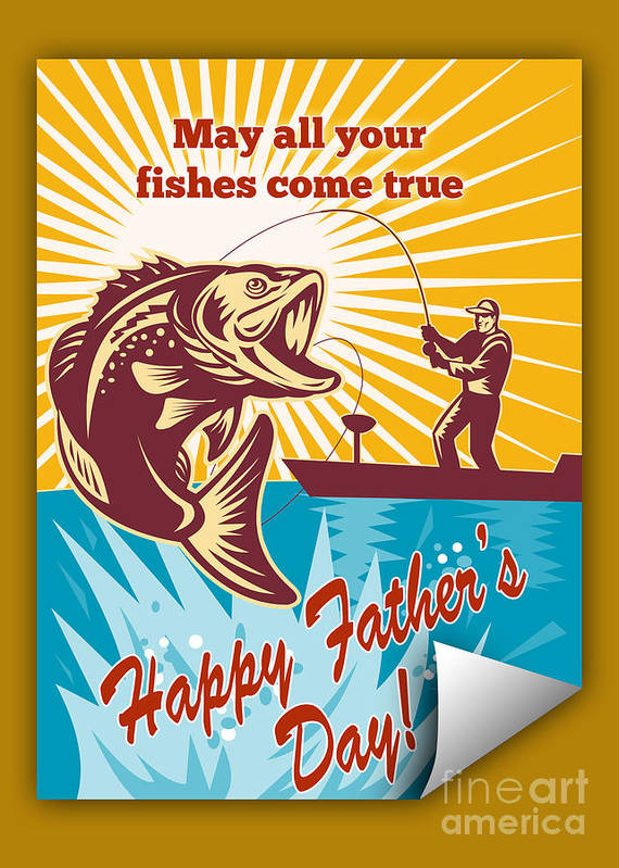 Father's Day Card Featuring Fly Fisherman On Boat Catching Largemouth Bass Retro Style Illustration Poster featuring the digital art Fly Fisherman On Boat Catching Largemouth Bass by Aloysius Patrimonio