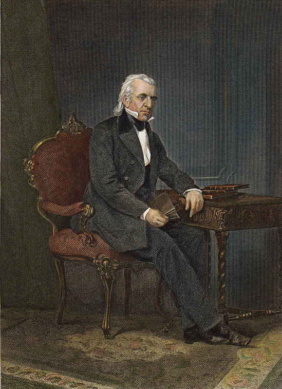 19th Century Poster featuring the photograph James Knox Polk (1795-1849) by Granger