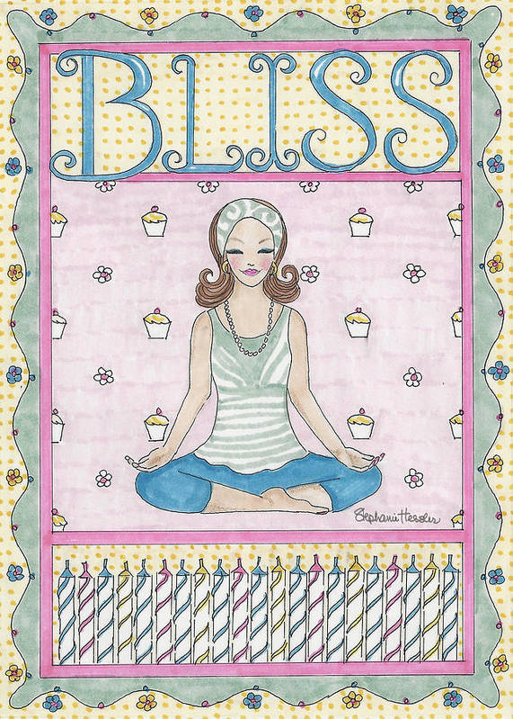 Bliss Poster featuring the mixed media Bliss by Stephanie Hessler
