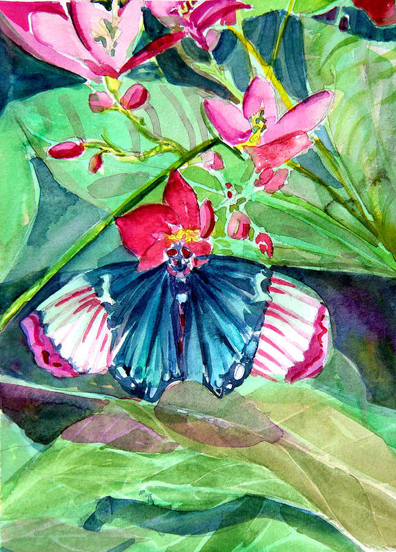 Butterfly Poster featuring the painting Butterfly Buffet by Mindy Newman
