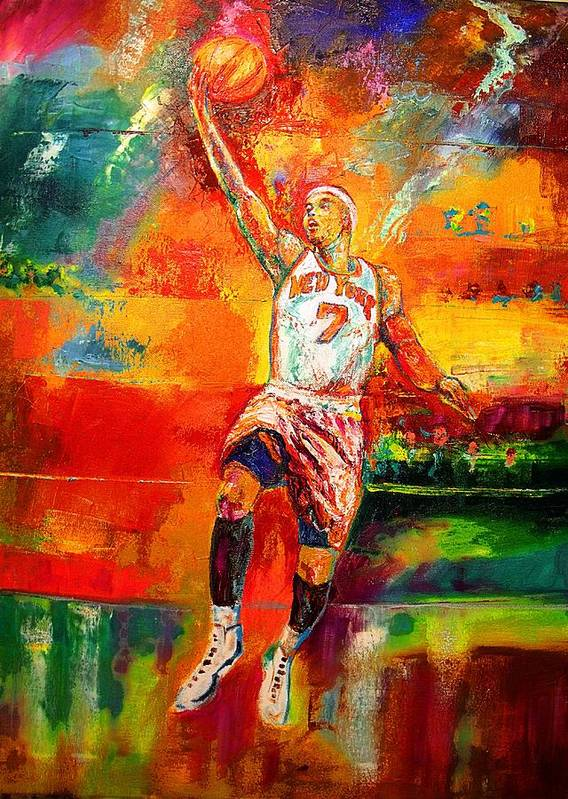 Carmel Anthony Basketball New York Knicks Poster featuring the painting Carmelo Anthony New York Knicks by Leland Castro