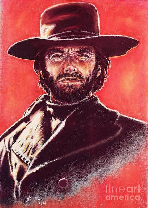 Paper Poster featuring the painting Clint Eastwood by Anastasis Anastasi