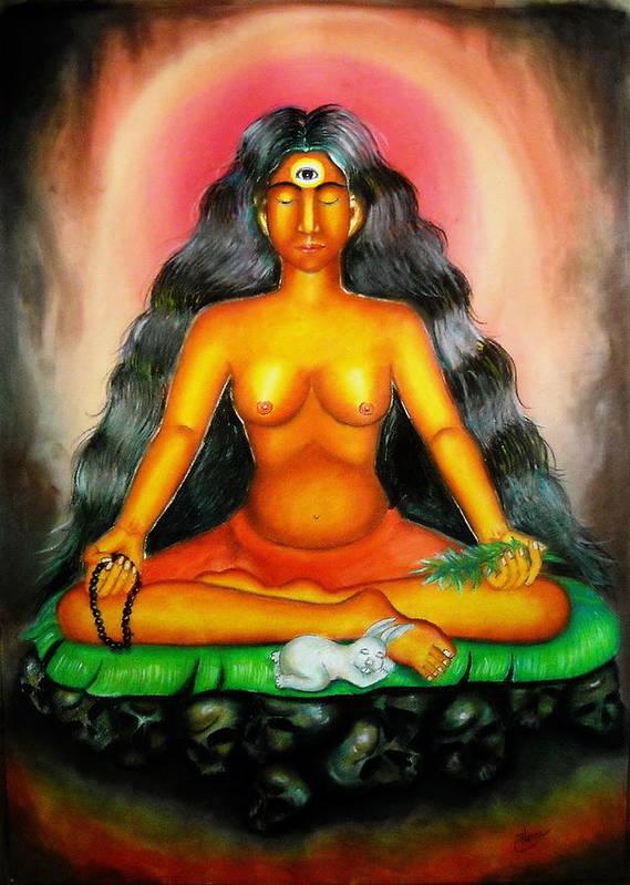 Kali Poster featuring the painting Devi Kali Goddess by Sri Mala