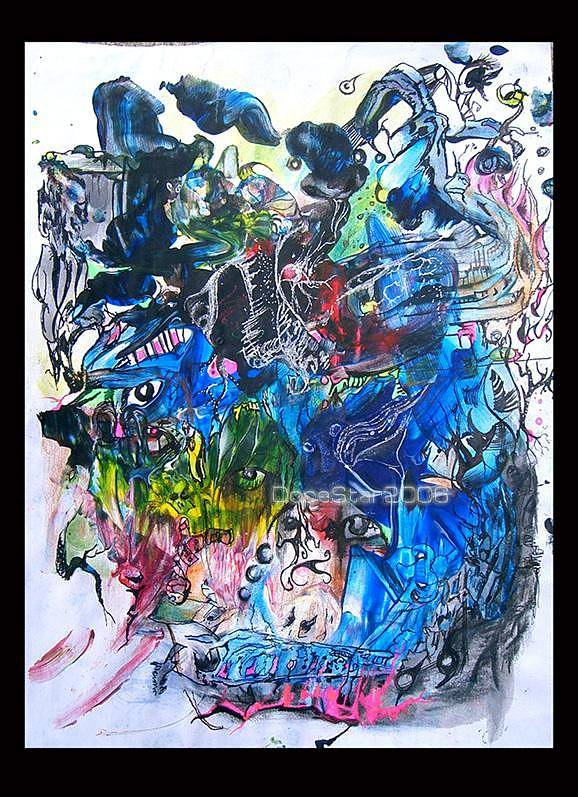 Abstract Poster featuring the drawing Just Breathe by Sara Jimenez