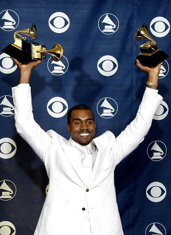 47th Annual Grammy Awards Poster featuring the photograph Kanye West In The Press Room For 47th by Everett