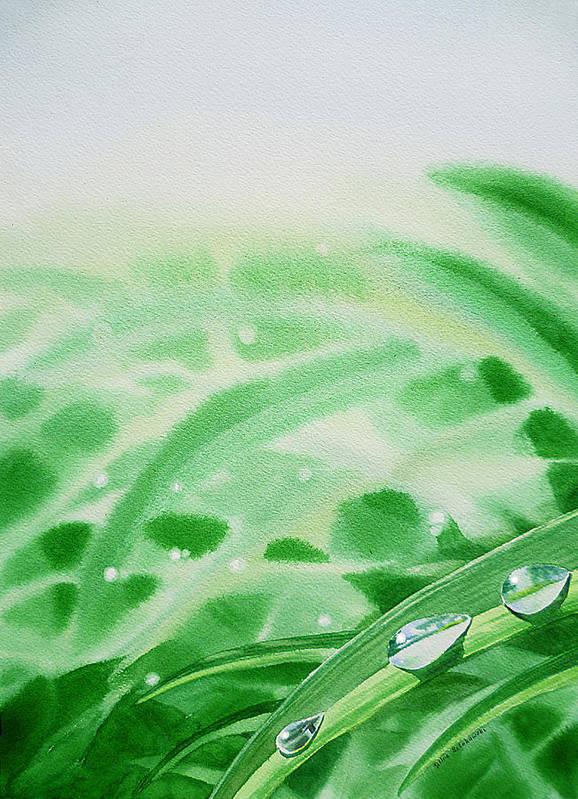 Dew Drop Poster featuring the painting Morning Dew Drops by Irina Sztukowski
