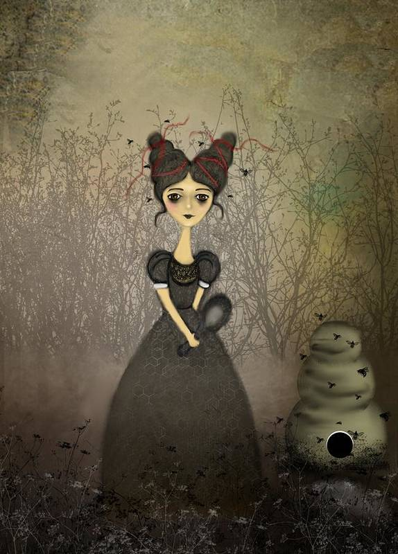 Girl Poster featuring the digital art The Bee Keeper by Charlene Zatloukal