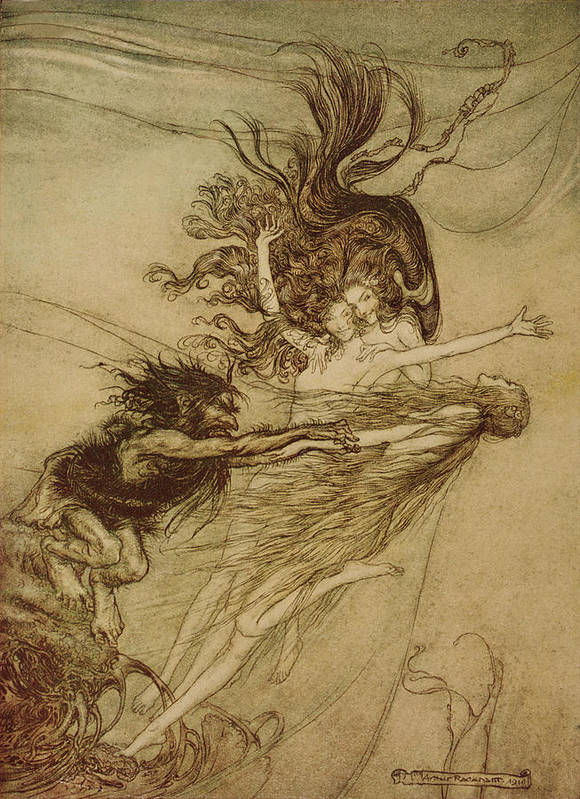 the Rhinemaidens Teasing Alberich From 'the Rhinegold And The Valkyrie' By Richard Wagner Poster featuring the drawing The Rhinemaidens Teasing Alberich by Arthur Rackham