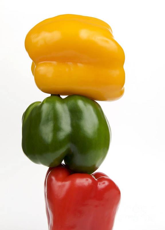 Texture Poster featuring the photograph Three Peppers by Bernard Jaubert