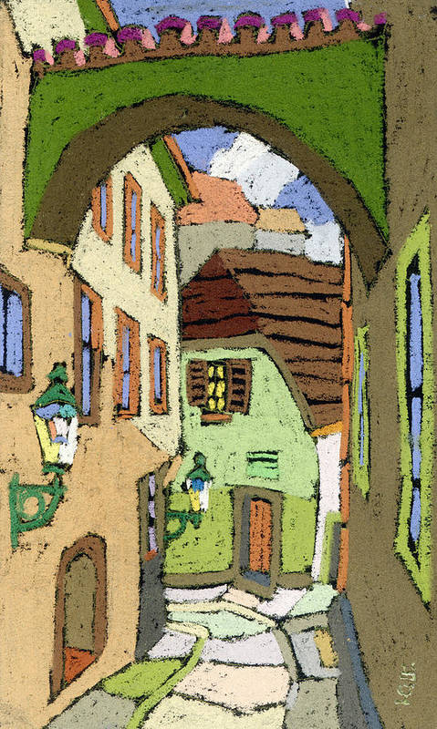 Pastel Poster featuring the painting Cesky Krumlov Masna Street by Yuriy Shevchuk