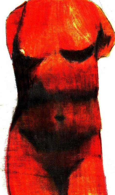 Red Poster featuring the drawing Red Aphrodite by Jennifer Ott