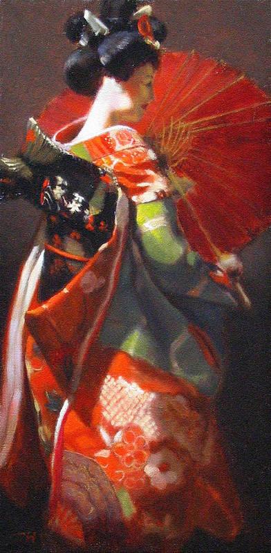 Geisha Poster featuring the painting Geisha Girl With Red Umbrella by Takayuki Harada