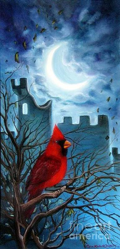 Cardinal Poster featuring the painting The Cardinal by Lora Duguay