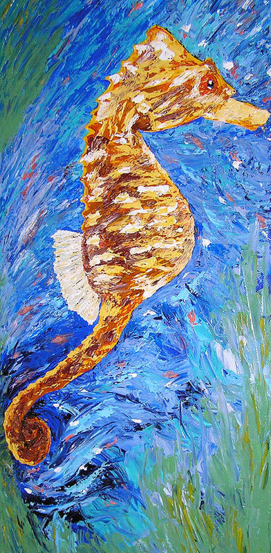 Seahorse Poster featuring the painting Seahorse Number 1 by Ricklene Wren