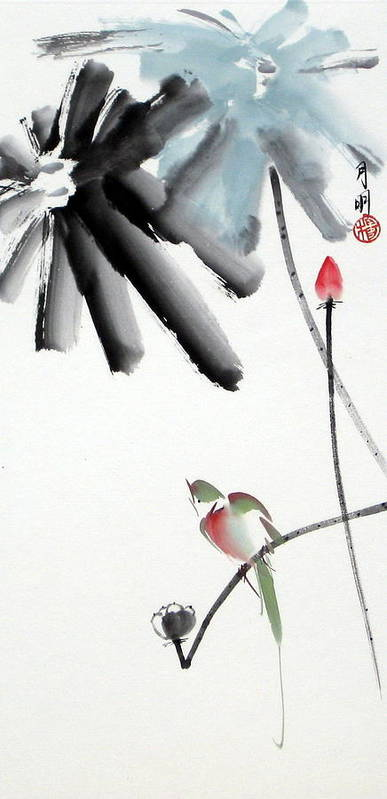 Chinese Painting Poster featuring the painting Summer Pond by Ming Yeung