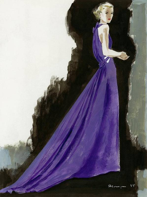 Fashion Poster featuring the digital art A Model Wearing A Purple Evening Dress by Pierre Mourgue