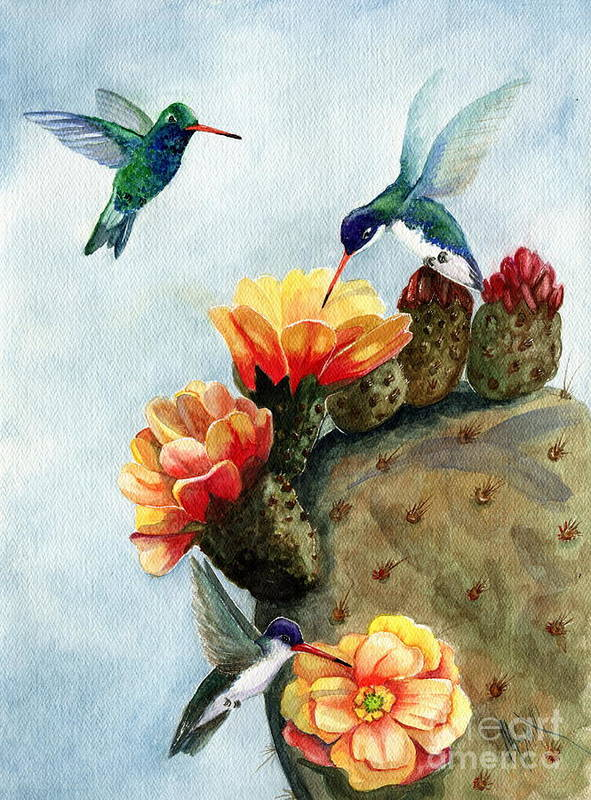 Hummingbirds Poster featuring the painting Baby Makes Three by Marilyn Smith
