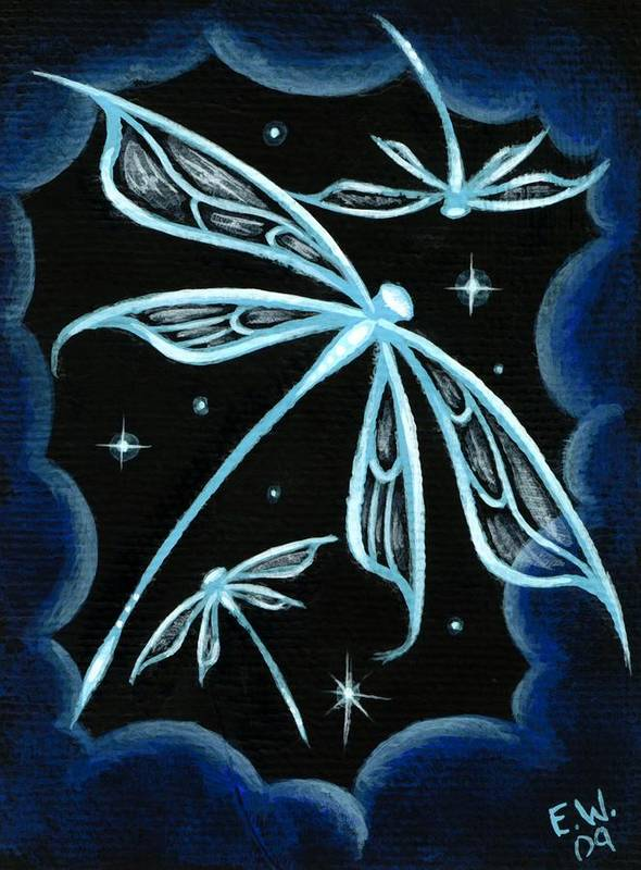 Fantasy Dragonfly Poster featuring the painting Blue Crystal Winged Dragonflies by Elaina Wagner