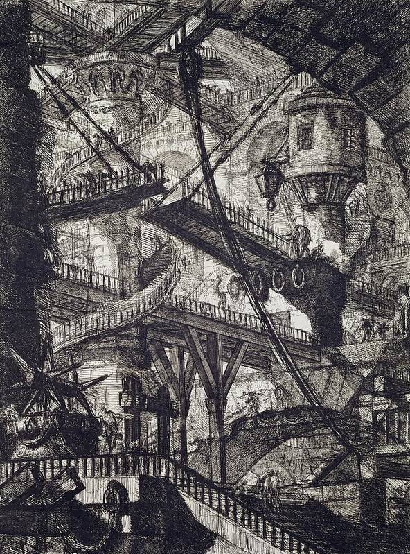 Prison; From The Carceri Series; Architectural; Architecture; Punishment; Jail; Gaol; Law And Order; Interior; Arch; Spiral; Staircase; Tower; Bridge; Pulley Poster featuring the drawing Carceri Vii by Giovanni Battista Piranesi