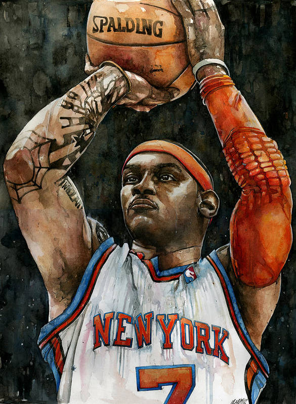 Carmelo Poster featuring the painting Carmelo Anthony by Michael Pattison