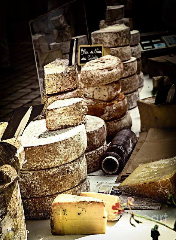 Cheese Poster featuring the photograph Cheeses On The Market In France by Elena Elisseeva