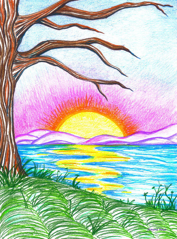 Landscape Poster featuring the drawing Childlike Wonder by Shawna Rowe