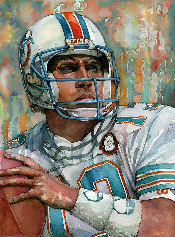 Dan Poster featuring the painting Dan Marino by Michael Pattison