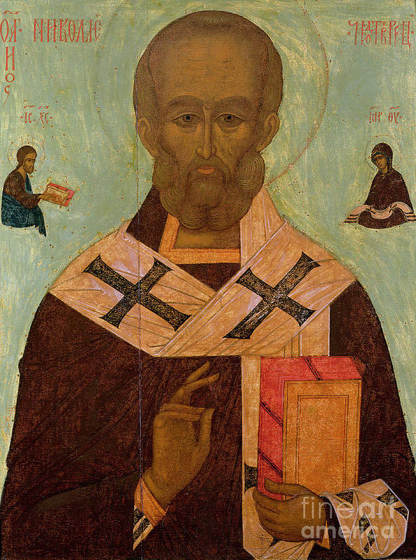 Saint Poster featuring the painting Icon Of St. Nicholas by Russian School