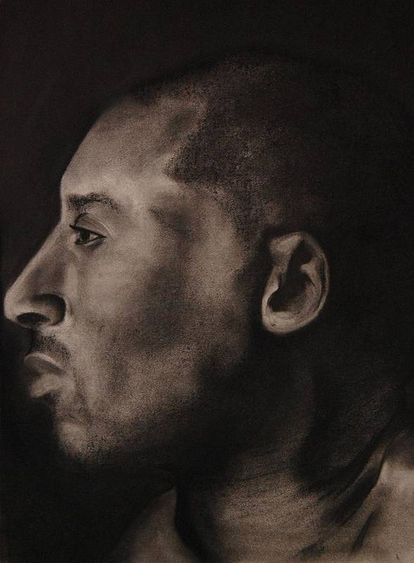 Kobe Bryant Poster featuring the drawing Kobe Charcoal 1 by Cuca Montoya