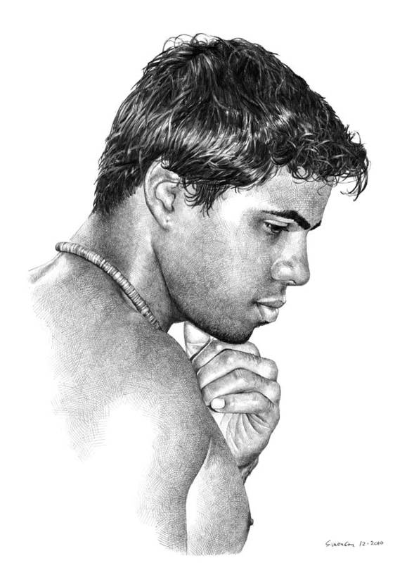 Portrait Poster featuring the drawing Moment With Marcus by Douglas Simonson