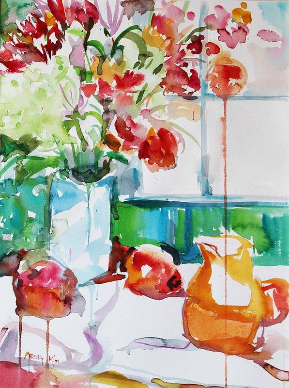 Floral Poster featuring the painting Morning Light by Becky Kim