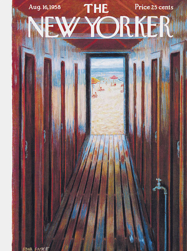 Beach Poster featuring the painting New Yorker August 16th, 1958 by Edna Eicke