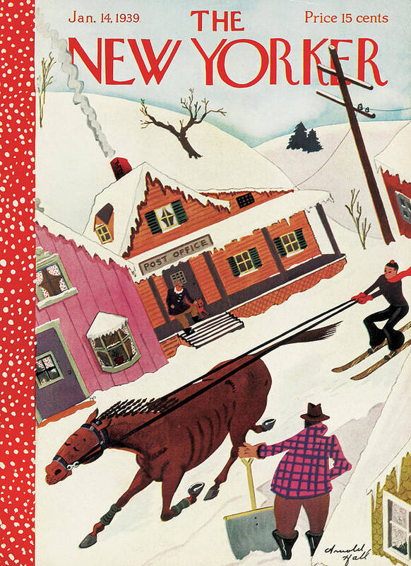 Horse Mare Horses Animal Snow Winter Ski Skiing Post Office Shovel Town Small Arnold Hall Ahl Arnold Hall Ahl Artkey 48628 Poster featuring the painting New Yorker January 14th, 1939 by Arnold Hall