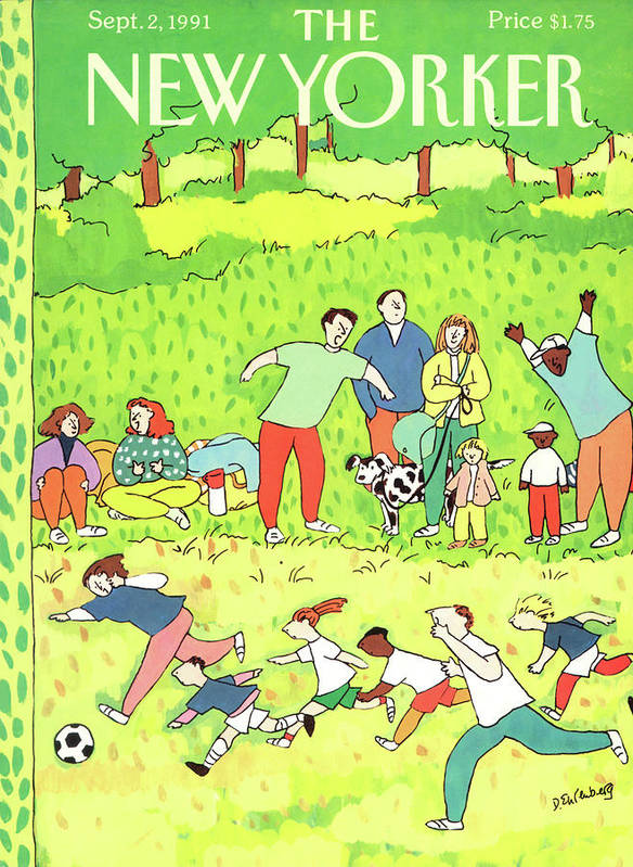 Families Root Their Children As They Play A Game Of Soccer In A Park. Poster featuring the painting New Yorker September 2nd, 1991 by Devera Ehrenberg