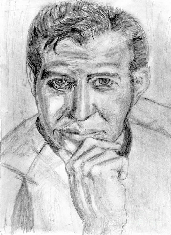 Pencil Poster featuring the drawing The One And Not Now Only James T Kirk by Madeline Moore