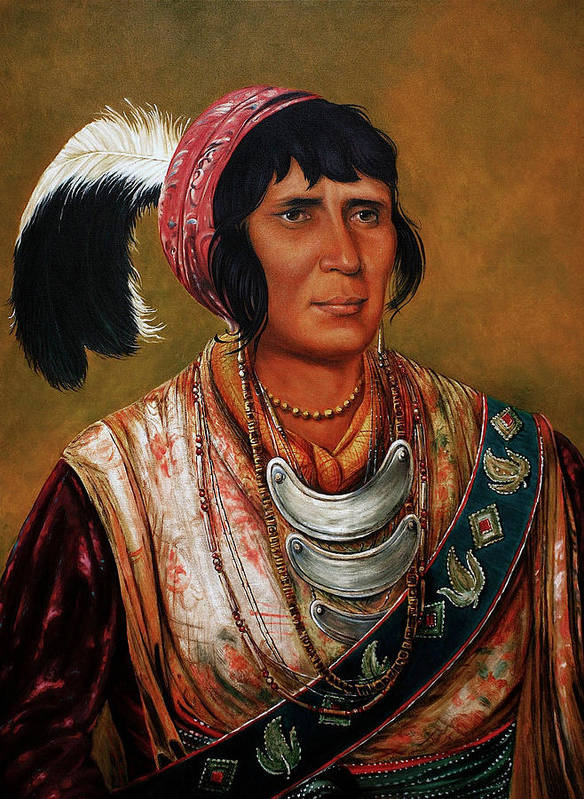 Native American Paintings Poster featuring the painting Osceola The Black Drink A Warrior Of Great Distinction By John Travisano After George Catlin by John Travisano