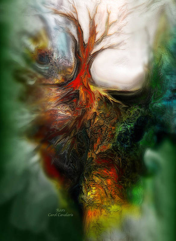 Abstract Poster featuring the mixed media Roots by Carol Cavalaris