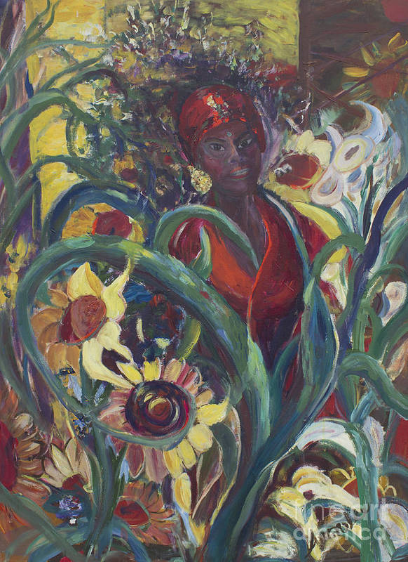 Sunflower Paintings Poster featuring the painting Sunflower Woman #1 by Avonelle Kelsey