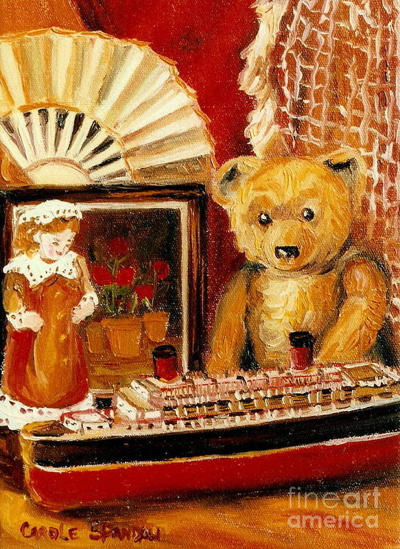 Teddy Bear Poster featuring the painting Teddy Bear With Tugboat Doll And Fan Childhood Memories Old Toys And Collectibles Nostalgic Scenes by Carole Spandau