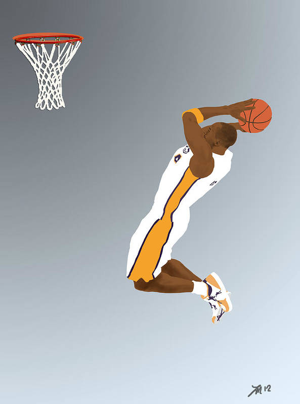 Kobe Bryant Poster featuring the drawing The Mamba Rises by Lee McCormick